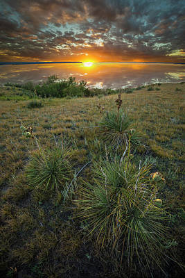 Poster featuring the photograph Oahe Sunset  by Aaron J Groen