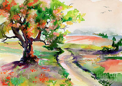 Poster featuring the painting Oak Tree Landscape Path Home  by Ginette Callaway