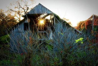 Old Barn At Sunset Poster