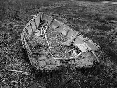 Poster featuring the photograph Old Boat In Tidal Marsh II Bw by David Gordon