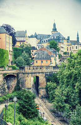 Poster featuring the photograph old city Luxembourg from above by Ariadna De Raadt