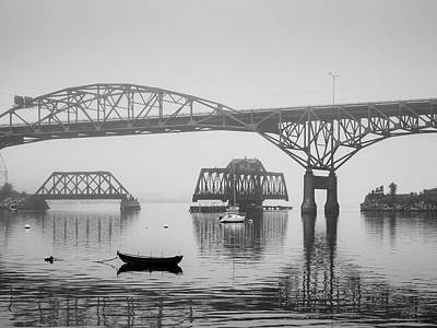 Poster featuring the photograph Old Sakonnet River Bridge IIi Bw by David Gordon