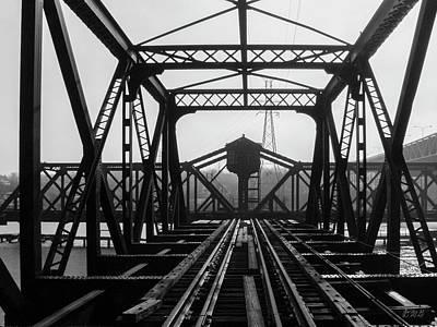Poster featuring the photograph Old Sakonnet River Railroad Bridge Bw by David Gordon