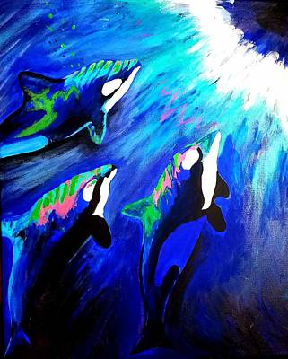 Poster featuring the painting Orcas  by Jennah Lenae
