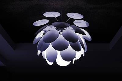 Poster featuring the photograph Ornamental Ceiling Light Fixture - Blue by Debi Dalio