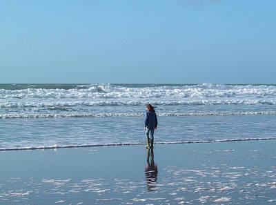 Paddling At Sandymouth Beach North Cornwall Poster