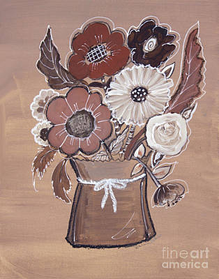 Poster featuring the painting Paper Bag Bouquet by Robin Maria Pedrero