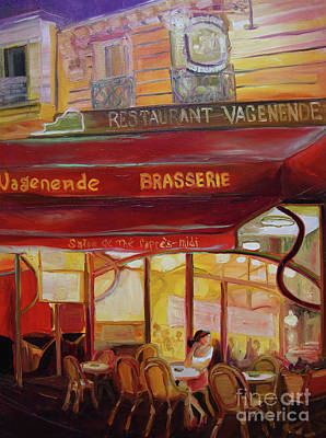 Poster featuring the painting Paris Night by Donna Hall