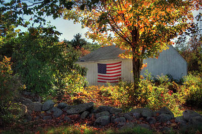 Poster featuring the photograph Patriotic White Barn In Autumn by Joann Vitali