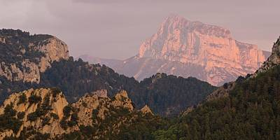 Poster featuring the photograph Pena Montanesa Sunset Panorama by Stephen Taylor