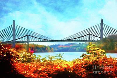 Penobscot Narrows Bridge In Autumn Poster