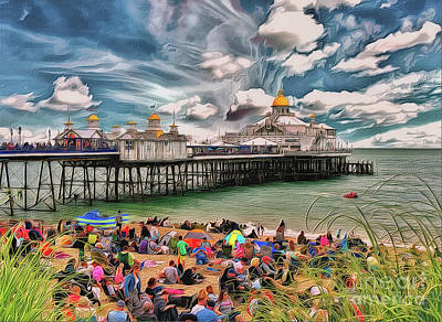 Poster featuring the photograph People And The Pier by Leigh Kemp
