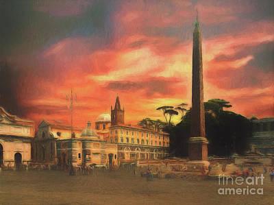 Piazza Del Popolo Rome Poster