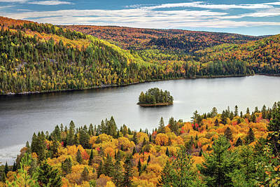 Poster featuring the photograph Pine Island At Wapizagonke Lake by Pierre Leclerc Photography