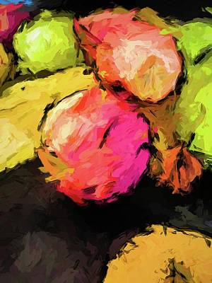 Pink And Green Apples With The Yellow Banana Poster