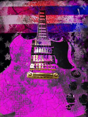 Pink Guitar Against American Flag Poster