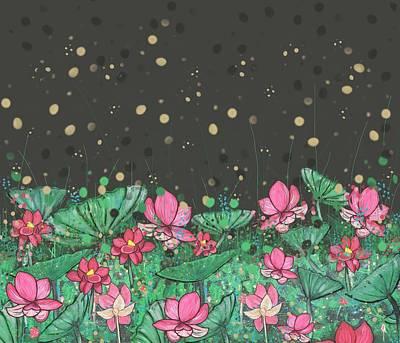 Pink Lilies Digital Change1 Poster