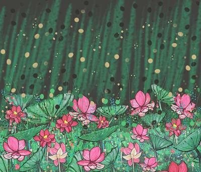 Pink Lilies Digital Change2 Poster