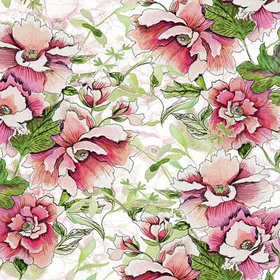 Pink Peony Blossoms Poster