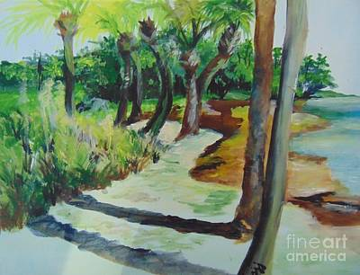 Poster featuring the painting Plen Aire Palms by Saundra Johnson