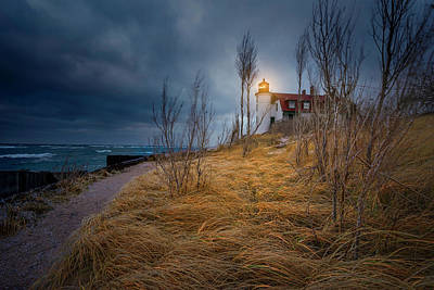 Point Betsie Lighthouse In Frost Poster