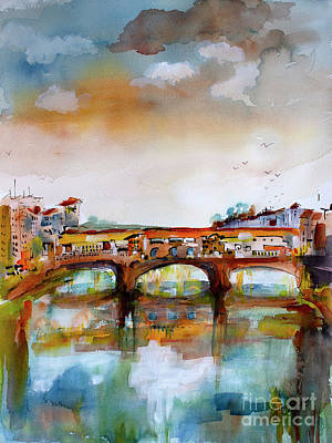 Poster featuring the painting Ponte Vecchio Florence Italy Watercolors by Ginette Callaway