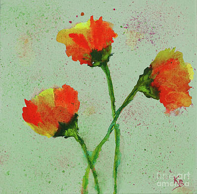 Poster featuring the painting Poppies by Karen Fleschler