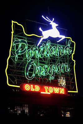 Poster featuring the photograph Portland White Stag Sign 11318 by Rospotte Photography