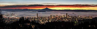 Portland Foggy Sunrise Poster