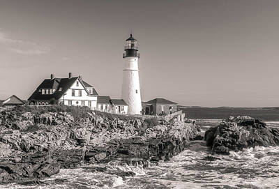 Poster featuring the photograph Portland Head Light Black And White by Dan Sproul