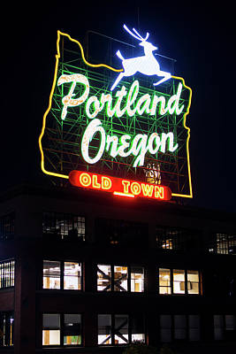 Poster featuring the photograph Portland Oregon White Stag Sign 1123 by Rospotte Photography