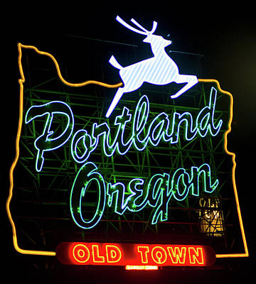Poster featuring the photograph Portland White Stag Sign 102518 by Rospotte Photography