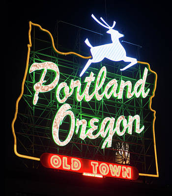 Poster featuring the photograph Portland Whitestag Neon Gold 119 by Rospotte Photography