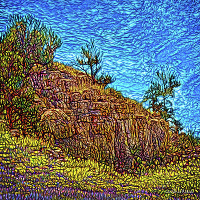 Poster featuring the digital art Primeval Red Cliffs by Joel Bruce Wallach