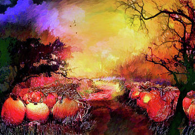 Poster featuring the painting Pumpkin Patch by Valerie Anne Kelly