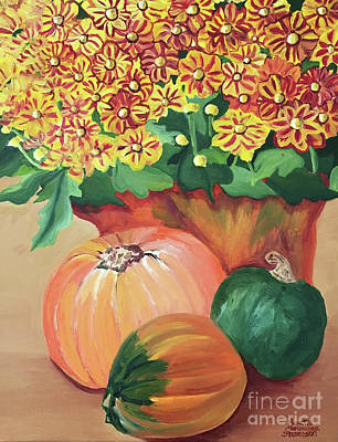 Pumpkin With Flowers Poster
