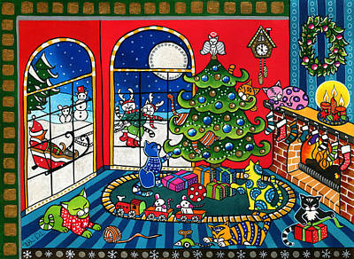 Purrfect Christmas Cat Painting Poster
