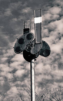 Poster featuring the photograph Railroad Semaphore Signal 10 B W 1 by Joseph C Hinson Photography