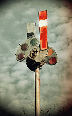 Poster featuring the photograph Railroad Semaphore Signal 10 Vintage by Joseph C Hinson Photography