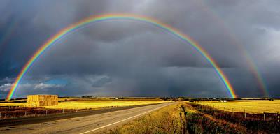 Rainbow Over Crop Land Poster