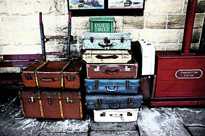 Ramsbottom.  Elr Railway Suitcases On The Platform. Poster