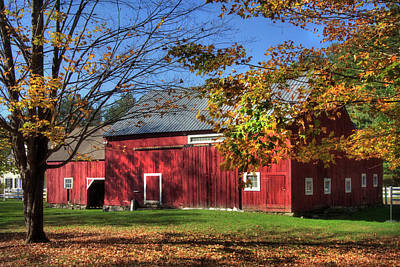 Poster featuring the photograph Red Barn With Fall Foliage by Joann Vitali