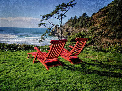 Red Chairs At Agate Beach Poster