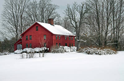 Red New England Colonial In Winter Poster