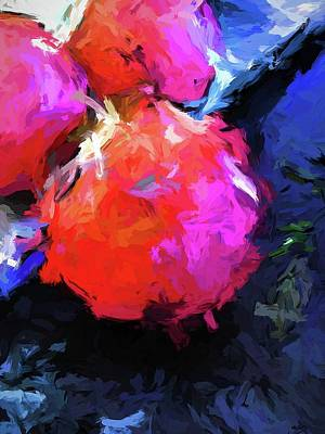Red Pomegranate In The Blue Light Poster
