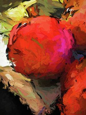 Red Pomegranate In The Yellow Light Poster