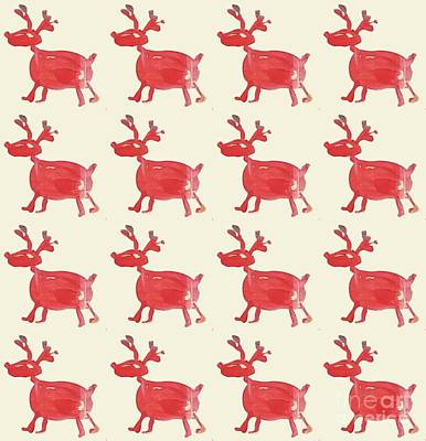 Poster featuring the painting Red Reindeer Pattern by Maria Langgle