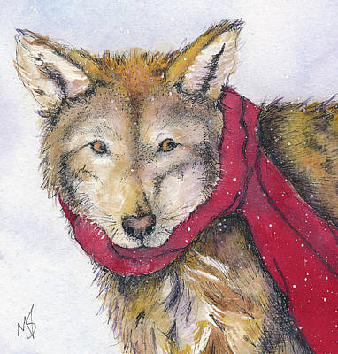 Red Wolf And Scarf Poster