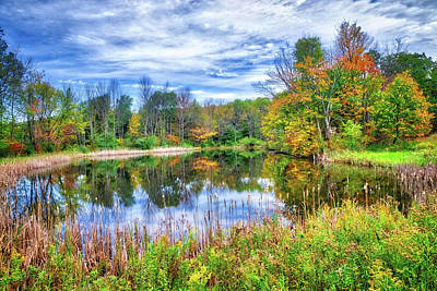Poster featuring the photograph Reflections Of Fall In The Finger Lakes by Lynn Bauer