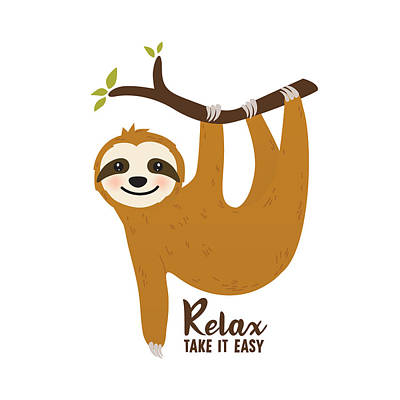 Relax Take It Easy - Baby Room Nursery Art Poster Print Poster